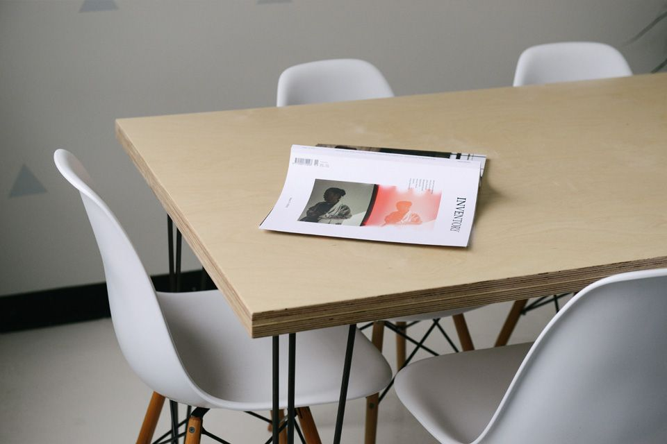 Office table with magazine